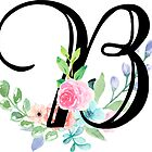 Girly Watercolor Floral Initial - B by Grafixmom