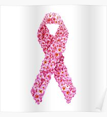 Breast Cancer Awareness Floral Pink Ribbon Poster