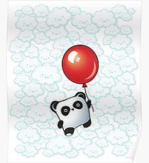Kawaii Little Panda on the Balloon Poster