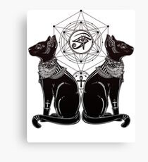 Lienzo Gatos egipcios con Ankh y Ojo de Horus que todo lo ve