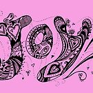 Joy Aussie Tangle in Black with Transparent Background by Heatherian