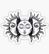 Vintage Solar Eclipse Sun and Moon Sticker
