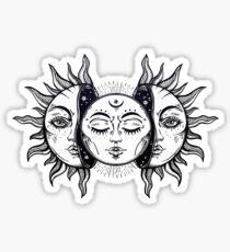 Pegatina Eclipse Solar Vintage Sol y Luna