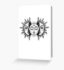 Vintage Solar Eclipse Sun and Moon Greeting Card