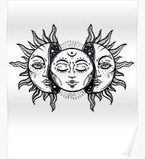 Vintage Sonnenfinsternis Sonne und Mond Poster