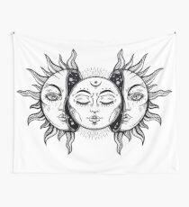 Vintage Sonnenfinsternis Sonne und Mond Wandbehang