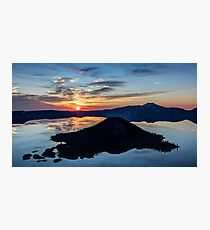 Silhouette of Wizard island at Sunrise Photographic Print