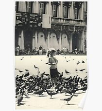 Little girl and pigeons in Venice Poster