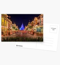 Nighttime On Main Street USA Postcards
