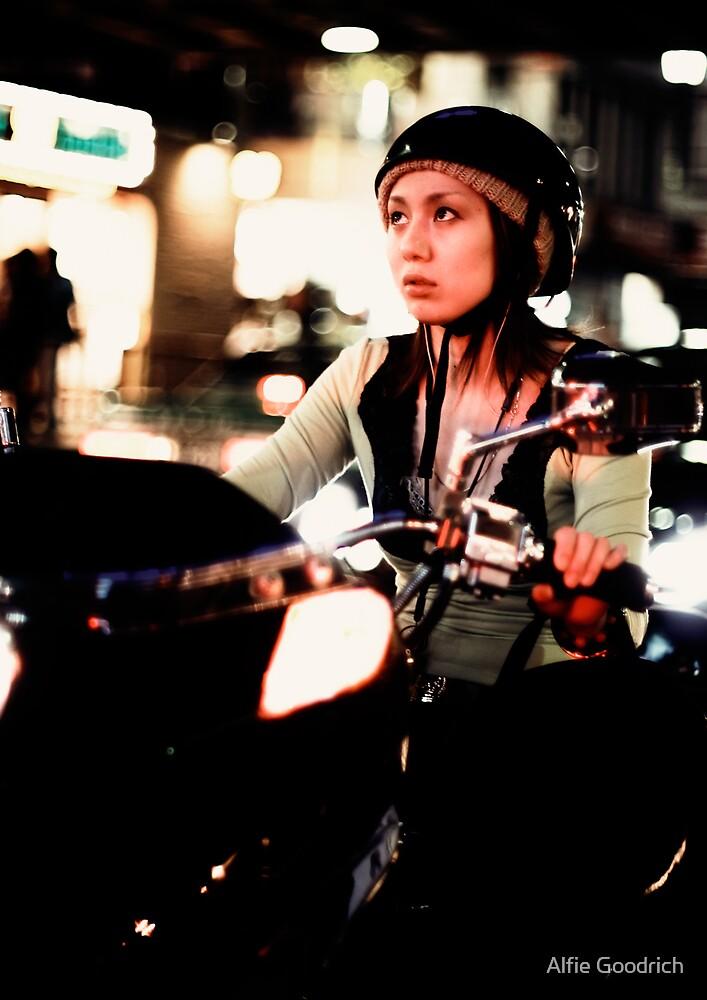 Scooter girl bokeh extravaganza, Tokyo, Japan by Alfie Goodrich