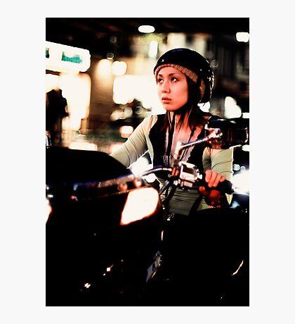 Scooter girl bokeh extravaganza, Tokyo, Japan Photographic Print