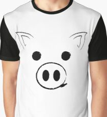 Pig - Happy face Funny Cute Animal Gift Graphic T-Shirt