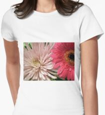 pretty light pink chrysanthemum and pink daisy flowers picture. Women's Fitted T-Shirt