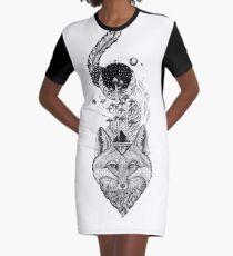 Fox Weltraumwald T-Shirt Kleid