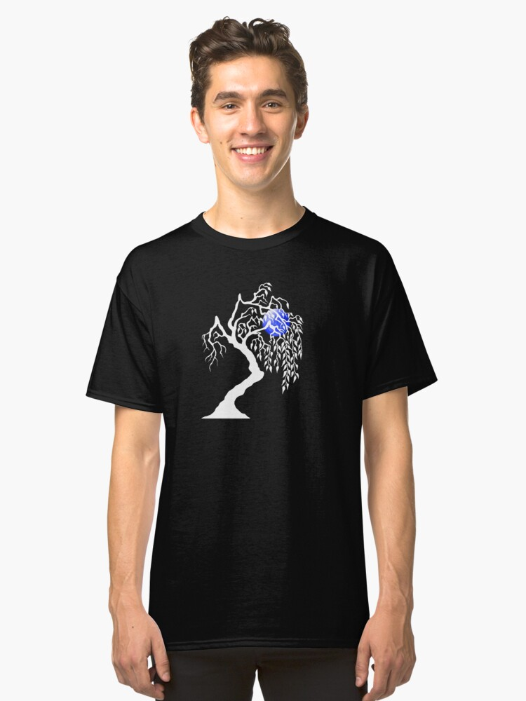 white tree blue moon Classic T-Shirt Front