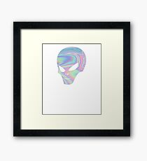 UFO Head Alien Shirt extraterrestrial Holographic Glow scary Framed Print