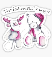 Christmas hugs from Rudolph and Teddy Sticker