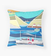 Paddle Steamer voyage Throw Pillow