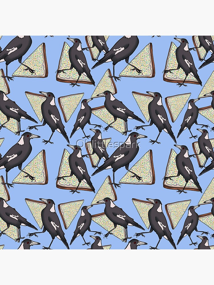 Magpies and Fairy Bread - Blue by Ohlittlespark