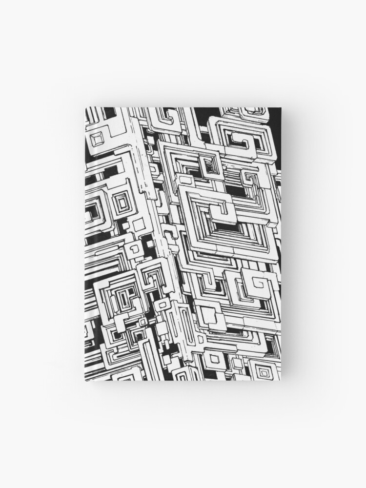 Bismuth Abstract Black And White Pen Drawing Hardcover Journal