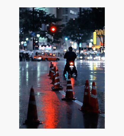 Cones in the rain: Shibuya, Tokyo, Japan. Photographic Print