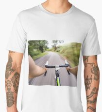 Cycling, man on road bicycle first person view Men's Premium T-Shirt
