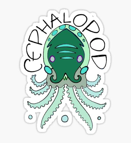 cephalopod in greens and blue Sticker