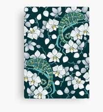 chameleons and orchids  Canvas Print