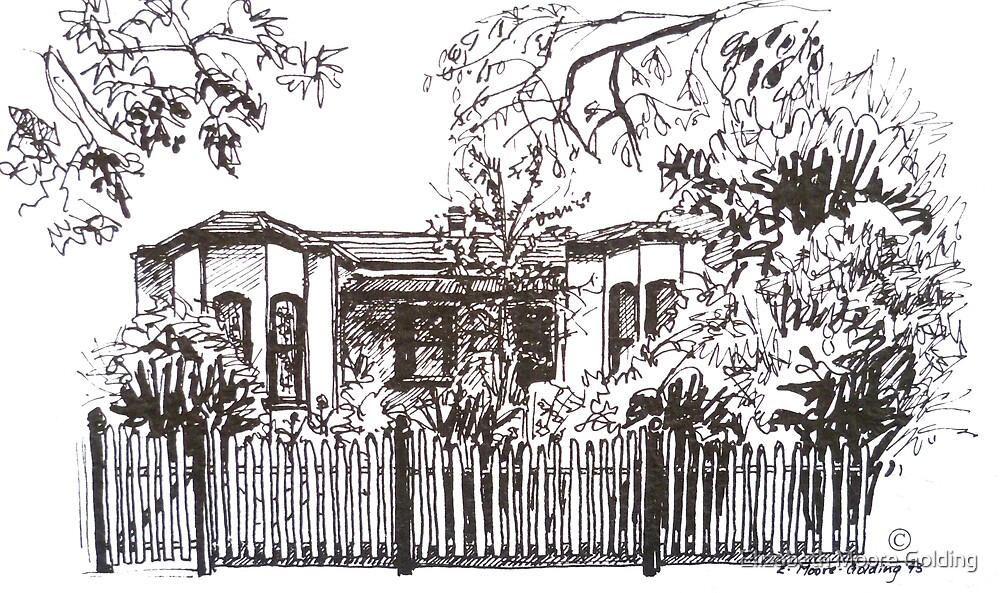 Bellair St Kensington Melbourne. Pen sketch.  by Elizabeth Moore Golding