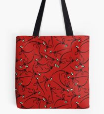 Merry Christmas Raptor - Black w/ Green Hat Tote Bag
