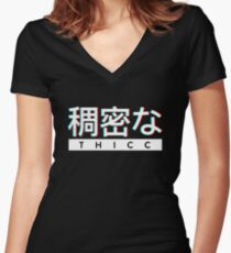 "Aesthetic Japanese ""THICC"" Logo Women's Fitted V-Neck T-Shirt"