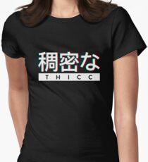 """Ästhetisches japanisches """"THICC"""" -Logo Tailliertes T-Shirt für Frauen"""