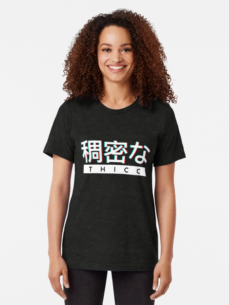 """Alternate view of Aesthetic Japanese """"THICC"""" Logo Tri-blend T-Shirt"""