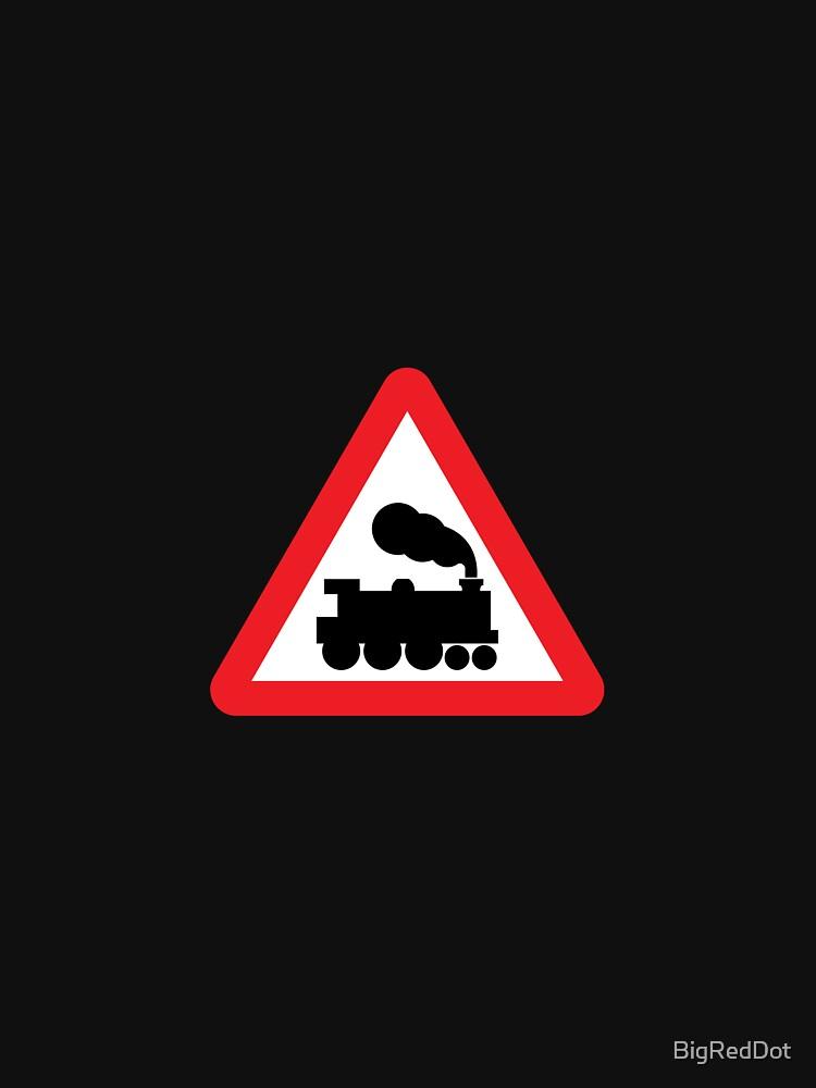 Train, road sign by BigRedDot