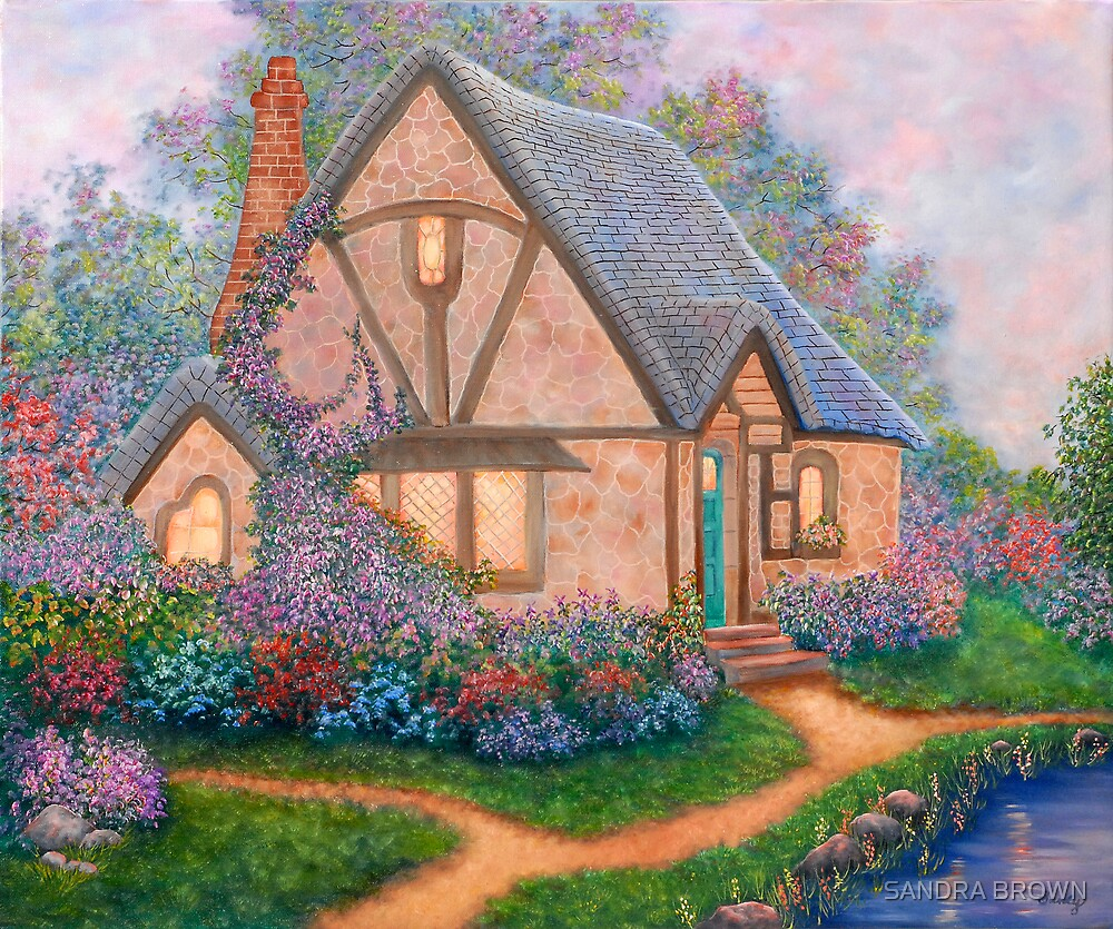 COTTAGE ORIGINAL OIL PAINTING by SANDRA BROWN