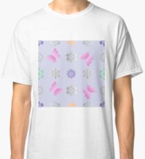 Seamless background with flowers and butterflies Classic T-Shirt