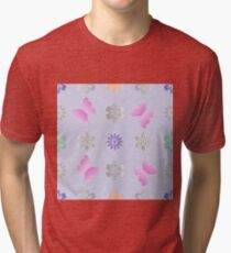 Seamless background with flowers and butterflies Tri-blend T-Shirt