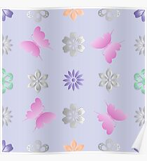 Seamless background with flowers and butterflies Poster