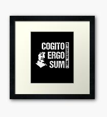 Cogito Ergo Sum René Descartes Philosophy T-Shirt Distressed Framed Print