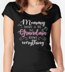 Grandma Gifts Mommy Knows A Lot But Grandma Knows Everything Women's Fitted Scoop T-Shirt