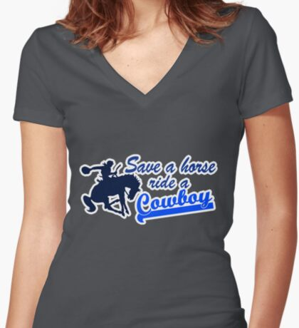 Cowboy t-shirt Women's Fitted V-Neck T-Shirt