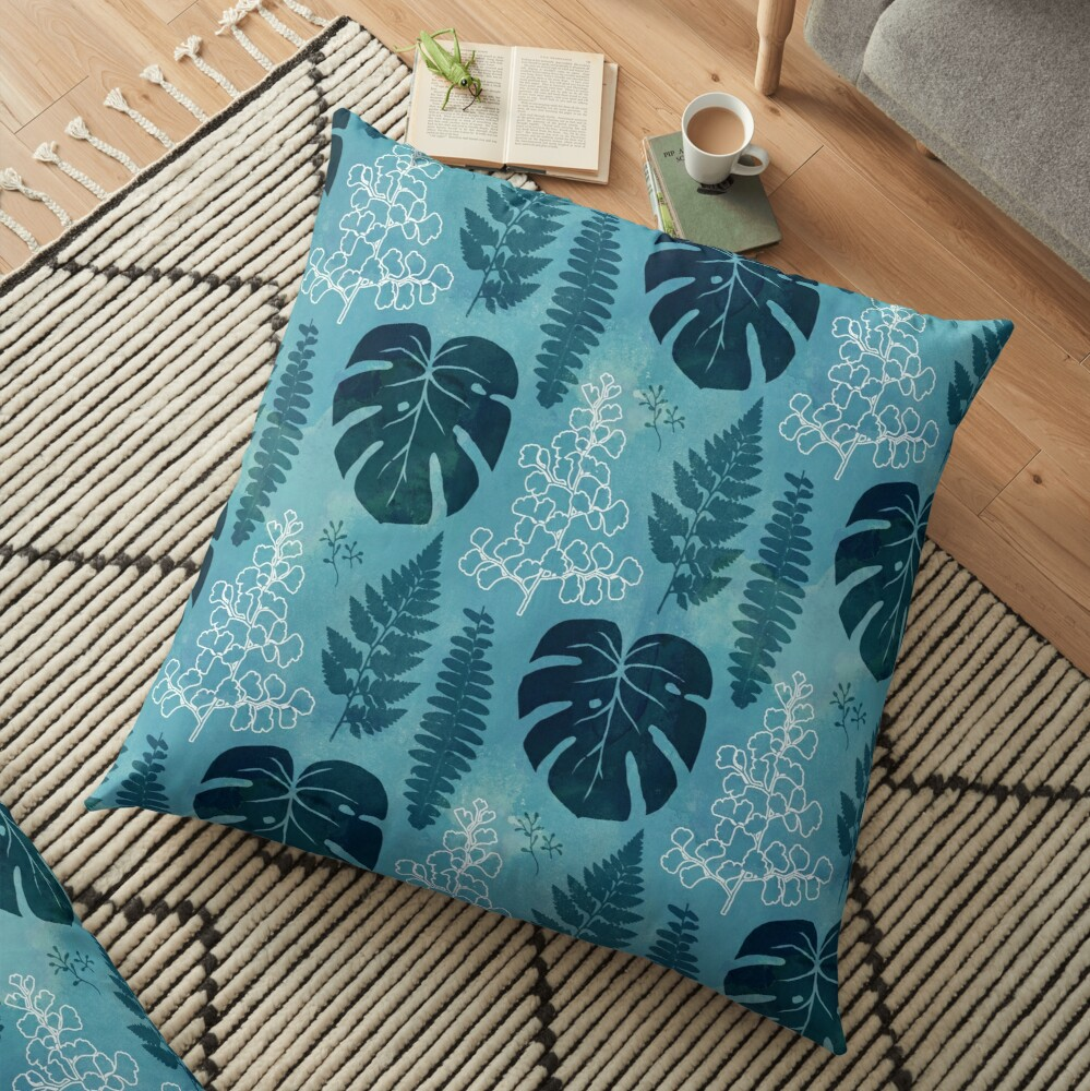 Turquoise tropical leaves Floor Pillow