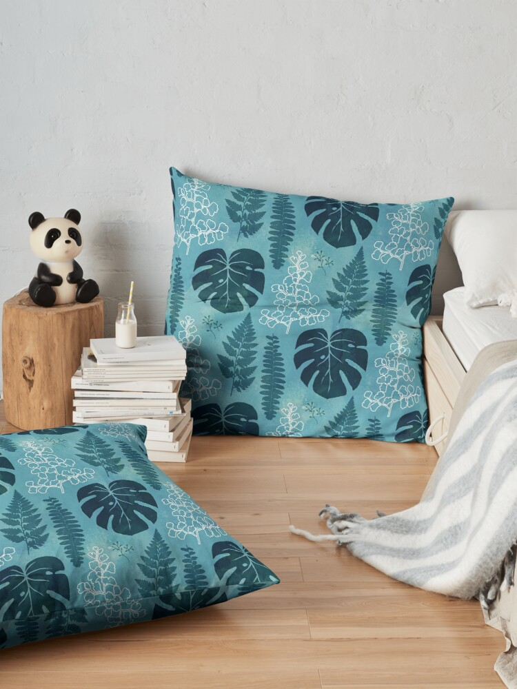 Alternate view of Turquoise tropical leaves Floor Pillow