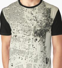 Chicago Streets and Buildings Map Antic Vintage Design Graphic T-Shirt