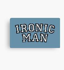 IRONIC MAN Vintage White Canvas Print