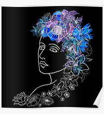 With flowers in her hair Poster