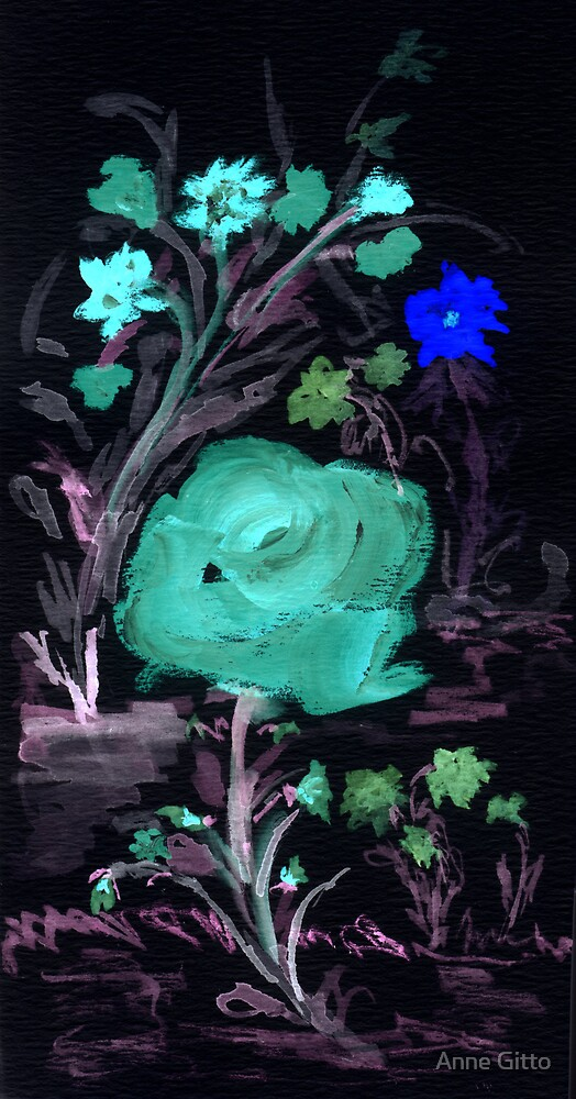 The Blue Rose & Flowers in the negative by Anne Gitto