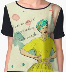 Funny Vintage_ I Was So Much Nicer When I Ate Carbs Women's Chiffon Top