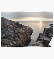 Sunlit rocks in the Baltic sea at sunrise. Poster