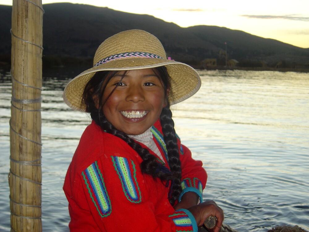 The cheerful Peruvian girl, Lake Titicaca by mojgan